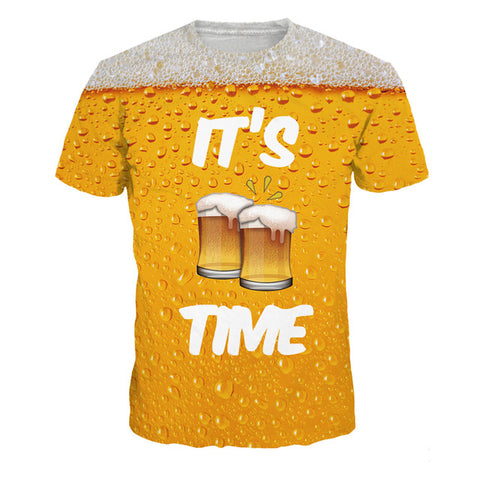 Fun Novelty Beer Print T-Shirt Men