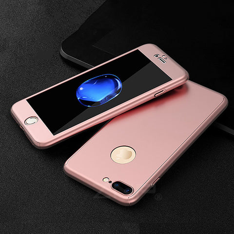360 Degree Full Cover Red Cases For iPhone 6 6s 7 Plus Case wish Tempered Glass - Phone Case - Youngerfan