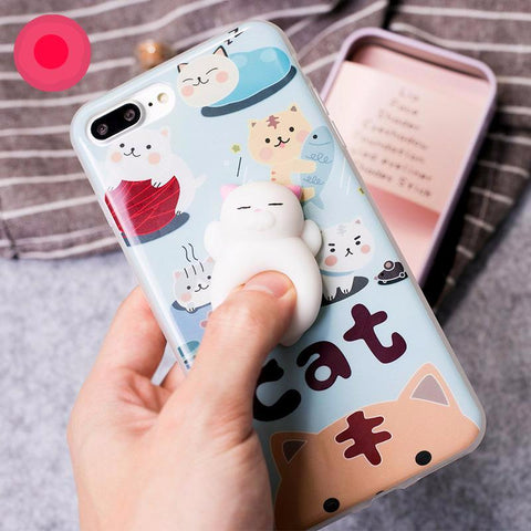 Finger Pinch 3D Cute Soft Silicone Panda Pappy Cat Seal Phone Case - Phone Case - Youngerfan