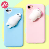 3D Squishy Cute Soft Silicone Cat Seal Ploar Bear Phone Case for iPhone - Phone Case - Youngerfan