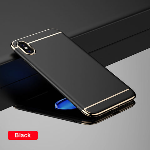 Luxury PC Hard Plating Phone Back Cover For iPhone X - 3 in 1 Ultra Slim Case - Phone Case - Youngerfan