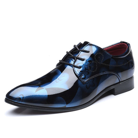 Patent Leather Oxford Pointed Toe Dress Shoes