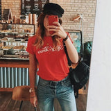2018 Summer Letter Printed Cotton T- Shirt