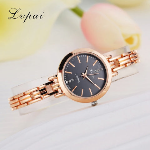 Lvpai brand luxury quartz movement rose gold watch - Watches - Youngerfan
