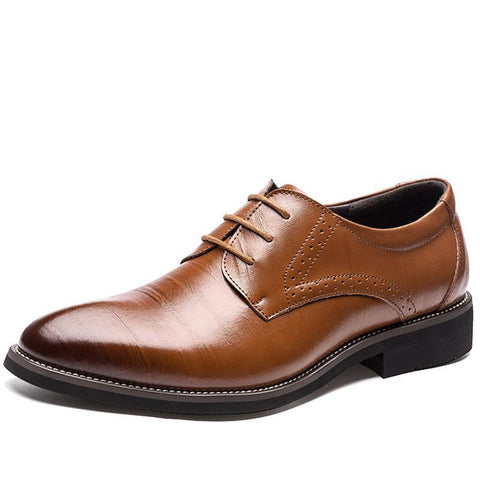 Genuine Leather Lace-Up Oxfords Formal Shoes