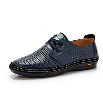 Breathable Soft Driving Men's Handmade Genuine Leather Shoes