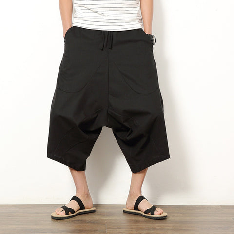 Men Cotton Drawstring Harem Pants