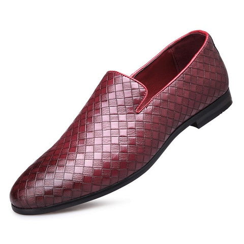 Leather Casual Weave Slip-On Dress Shoes
