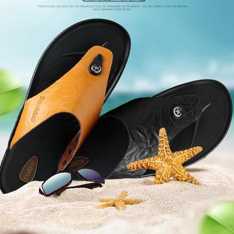 Genuine Leather Flip Flops Beach Sandals
