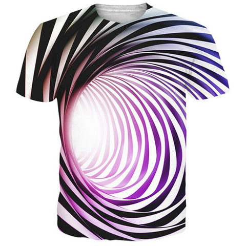 Men's Trendy 3D Creative Colorful Stripe Swirl Casual T-Shirt - Men T-Shirt - Youngerfan