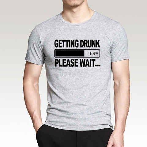 Funny men's t-shirt drunk please wait