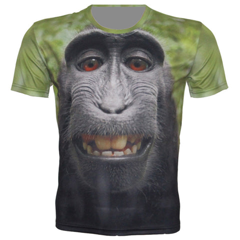 New 3D Monkey T-shirt Unisex Hip-Hop Round Neck