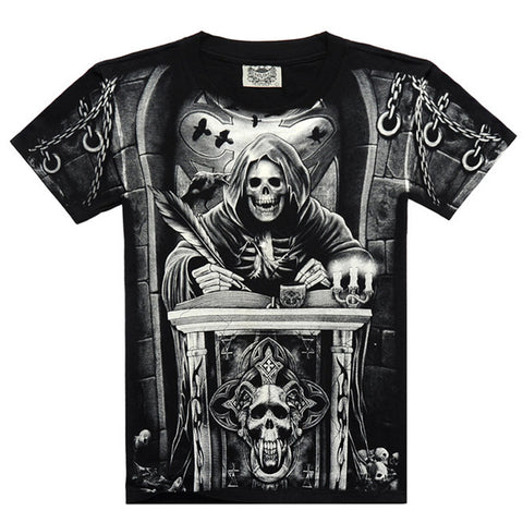 3d skull Fashion Casual 3D Printed Men T-Shirt
