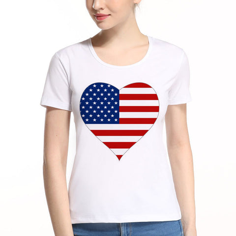 American Flag Independence Day Short Sleeve Ladies T-Shirt