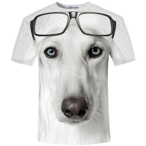 3D White Glasses Gog Fun T-shirt