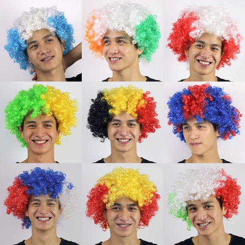 2018 Russia World Cup National Flag Color Cheerleading Passion Wig Cap - Hat - Youngerfan