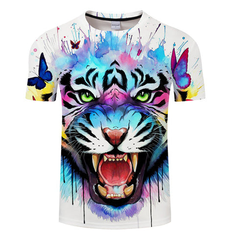 Art Tiger 3D Print T-Shirt Men