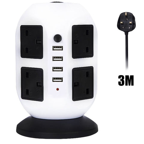 4 USB Ports 8 Outlets Tower Power Strip Vertical Socket - Electronics - Youngerfan