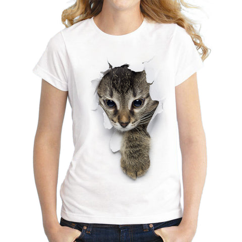 Summer mischievous cat 3D printing cute T-shirt Women