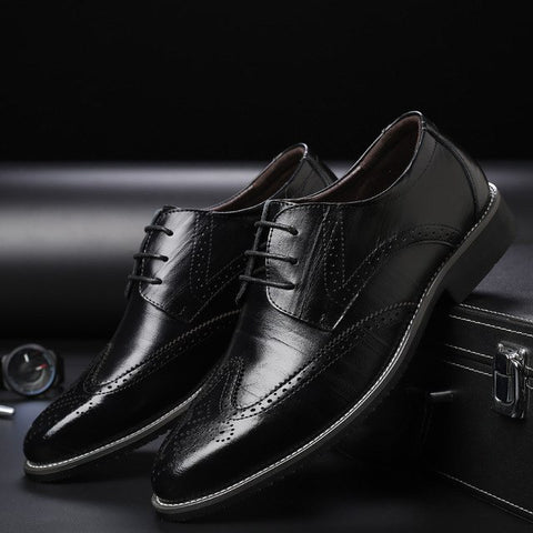 Leather Pointed Toe Lace Up Oxford Shoes