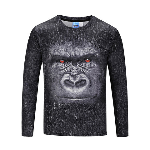 3D Long Sleeve Printed Gorilla Animal Funny T-Shirt