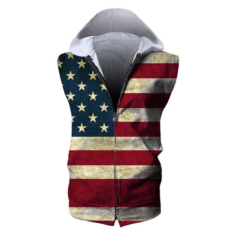 American Flag Mens Hooded 3D T-Shirt