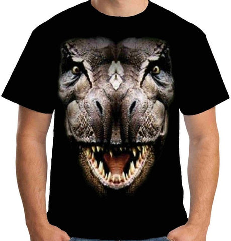 Rex Dinosaur Head Face T-shirt Men