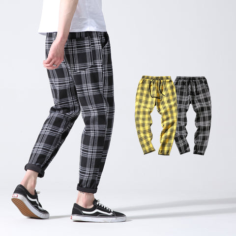 2018 Men Full Cotton Plaid Slim  Pants