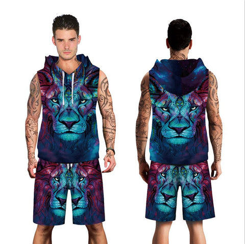 Men's Lion Head Digital Print Hooded Shorts Set