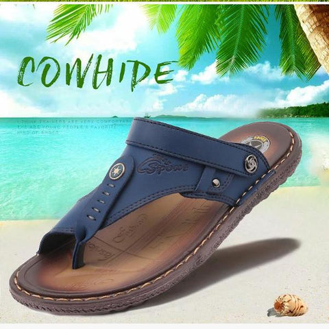 Leather Breathable Casual Sandals Non-slip Slippers