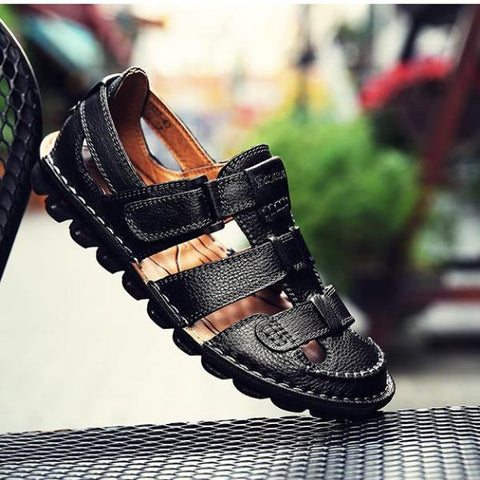 Genuine Leather Shoes Men's Sandals