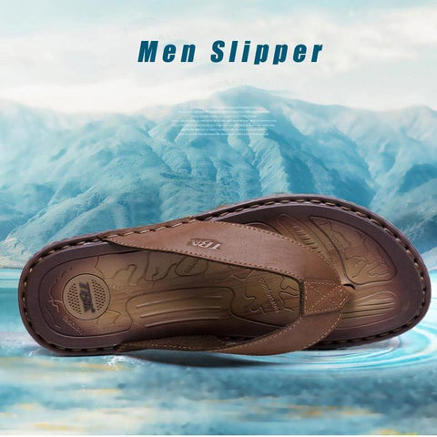 Genuine Leather Platform Slippers Beach Flip Flops