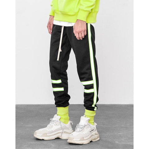 Reflecitive Stripe Fluorescent Green Fashion Vintage Track Pants