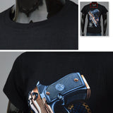 Cool 3D Pistol Novel Print T-Shirt