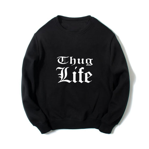 Thug Life Printed Men Rap Long Sleeves Hip Hop Hoodies