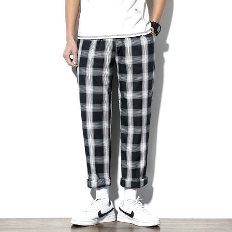 Men Plaid Casual Pant