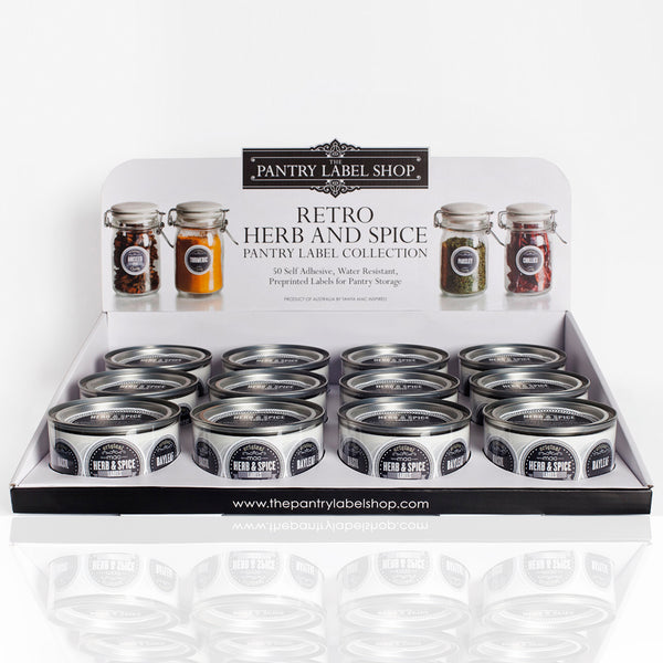 RETRO HERB AND SPICE LABEL COLLECTION DISPLAY TRAY