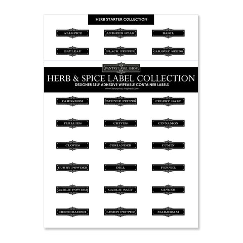 CLASSIC HERB AND SPICE LABEL COLLECTION - SHEETS