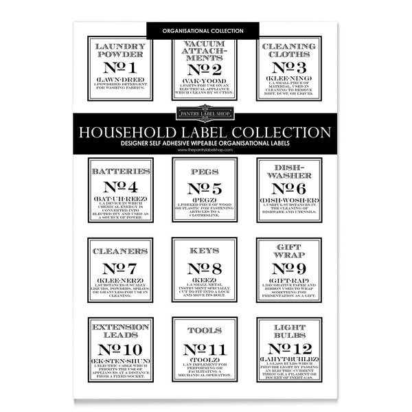VINTAGE HOUSEHOLD ORGANISATIONAL LABELS