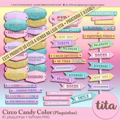 Circo Candy Color - Plaquinhas