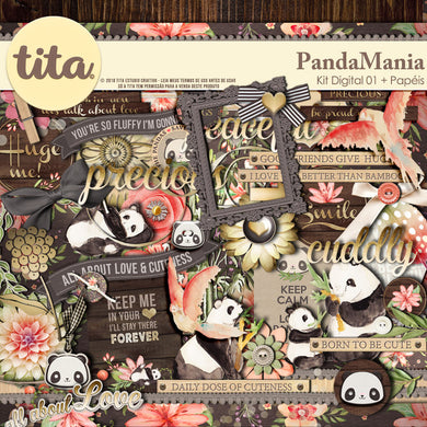 PandaMania - Kit Digital Aquarelado
