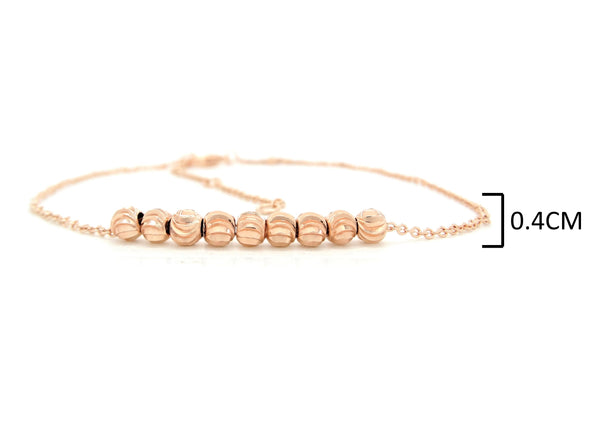 Rose gold bead chain anklet MEASUREMENT