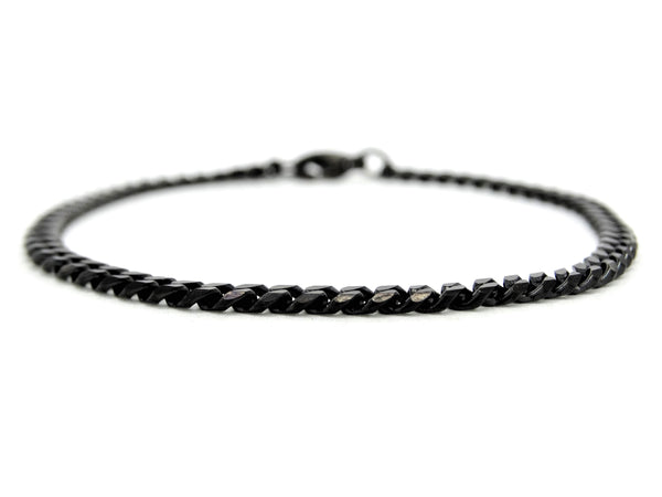 Black stainless steel thin chain anklet MAIN