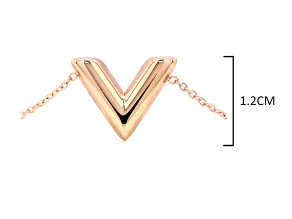 Rose gold letter V bracelet MEASUREMENT
