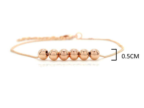 Rose gold bead chain bracelet MEASUREMENT