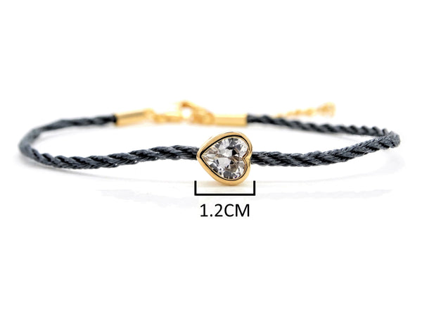 Navy blue yellow gold heart bracelet MEASUREMENT