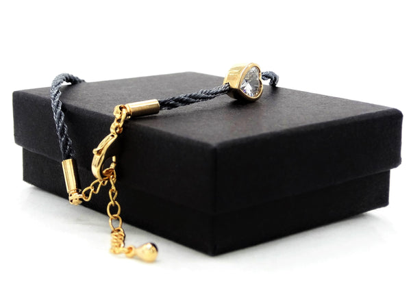 Navy blue yellow gold heart bracelet GIFT BOX