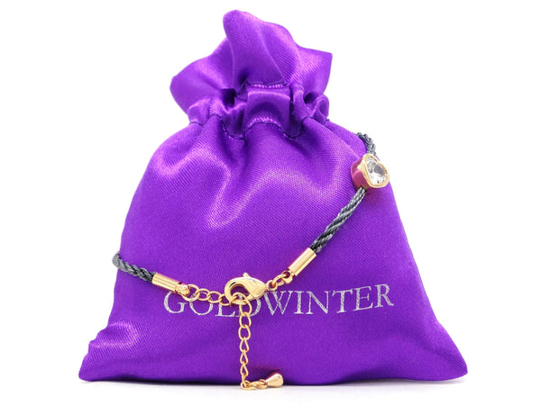 Navy blue yellow gold heart bracelet GIFT BAG