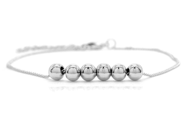 White gold bead chain bracelet MAIN
