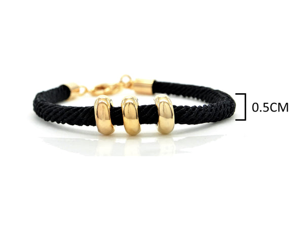 Black rope gold charms bracelet MEASUREMENT
